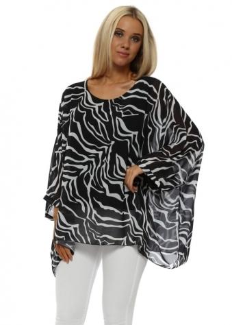 Black Zebra Print Batwing Top