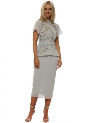 Grey Embellished Peplum Midi Dress