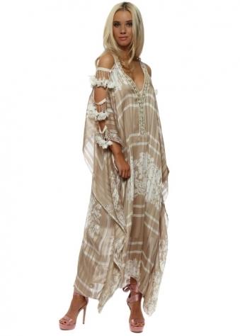 Beige Floral Ladder Sleeve Maxi Kaftan Dress