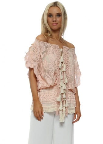 Nude Pink Lace Cotton Tassel Miss Top