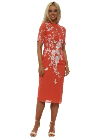 Coral Fitted Pencil Dress with Oriental Embroidery