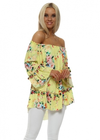 Yellow Floral Bardot Pom Pom Top