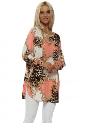 Coral Vintage Rococo & Leopard Long Tunic Top