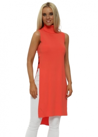 Coral Polo Neck Ladder Side Longline Jumper