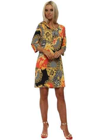 Coral Vintage Print Shift Dress