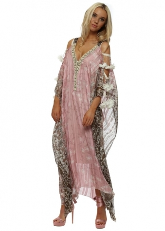 Pink Floral Ladder Sleeve Maxi Kaftan Dress