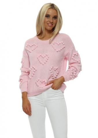 Pink Bobble Heart Big Knit Jumper