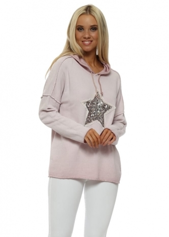 Pink Cotton Knit Sequin Star Hoodie