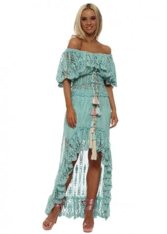 Turquoise Maxi Skirt & Bardot Lace Top