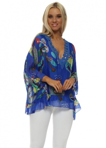 Blue Artistic Shapes Silk Batwing Top