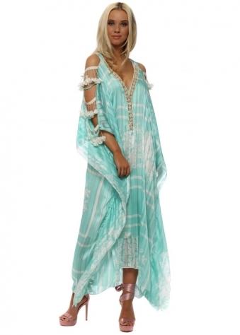 Turquoise Floral Ladder Sleeve Maxi Kaftan Dress