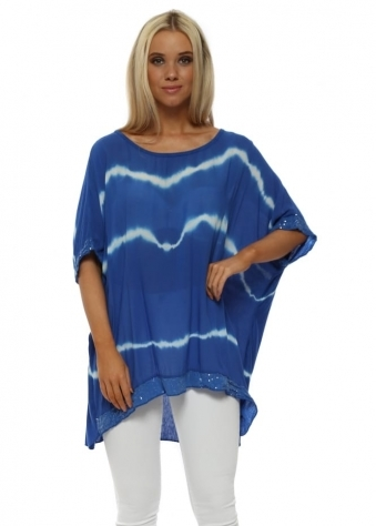 Cobalt Blue & White Tie Dye Sequinned Top