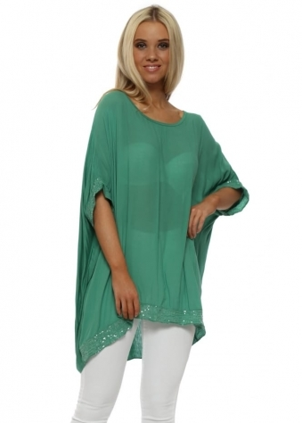 Green Sequinned Oversized Slouch Top