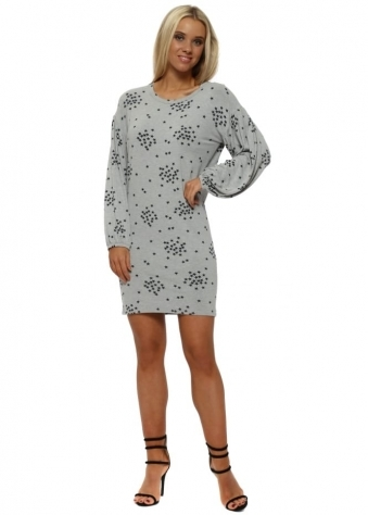 Stella Grey White Starry Jersey T-Shirt Dress
