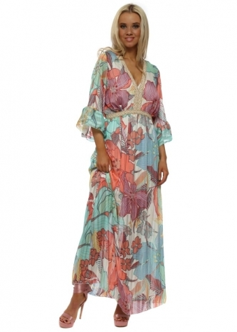 Coral Tropical Flower Print Maxi Dress