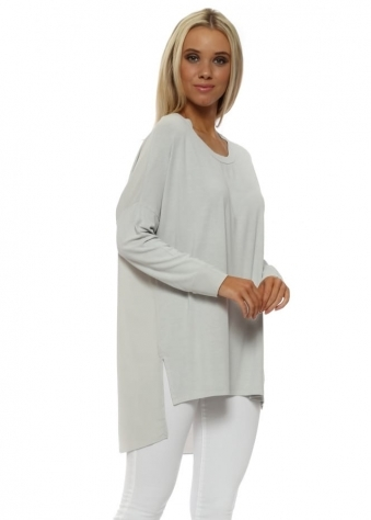 Sharnie Grey White Contrast Tail Back Tunic Top