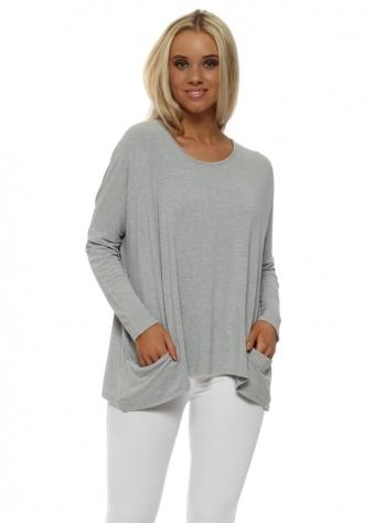 Pammy Grey White Melange Slouch Jersey Pockets Top