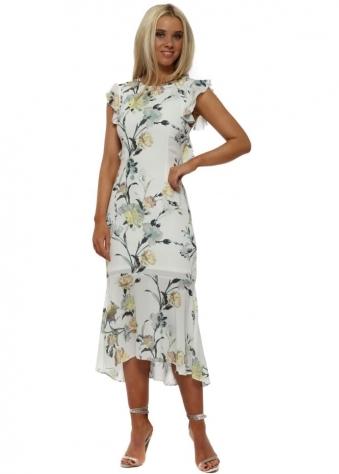 White Lattice Back Pencil Dress in Floral Print