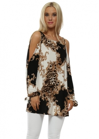 Black Vintage Rococo & Leopard Cold Shoulder Top