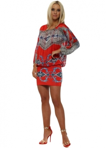 Red & Blue Rococo Print Batwing Mini Dress