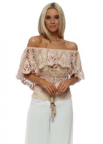 Nude Pink Crochet Lace & Mesh Bardot Milan Top