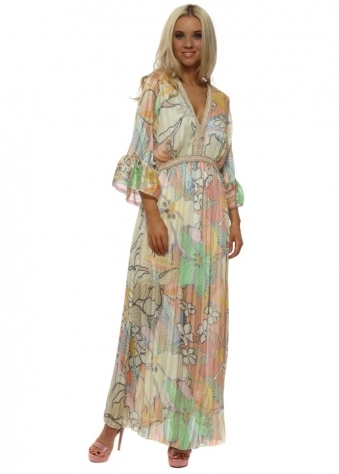 Lemon Tropical Flower Print Maxi Dress