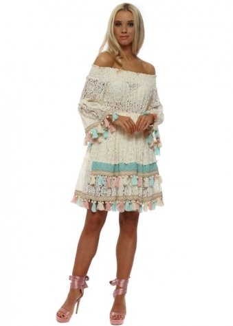 Dentelle Cream Lace Bardot Tassel Dress