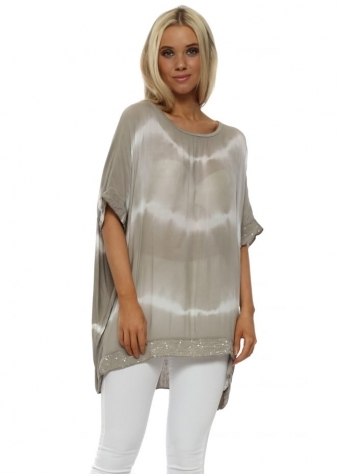 Mocha & White Tie Dye Sequinned Top