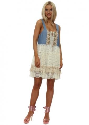 Vanita Denim Blue Lace Pinafore Dress
