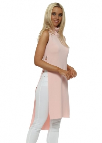 Baby Pink Polo Neck Ladder Side Longline Jumper