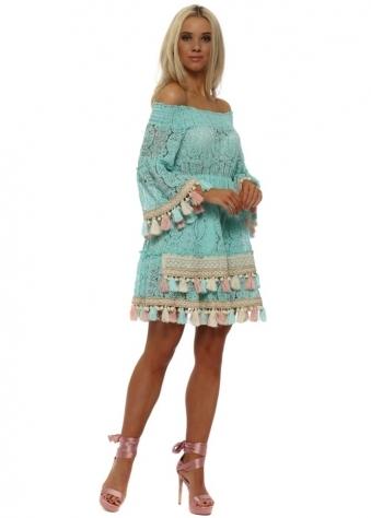 Dentelle Turquoise Lace Bardot Tassel Dress