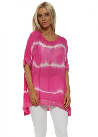 Pink & White Tie Dye Sequinned Top