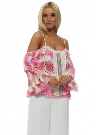 Matuidi Hot Pink Tie Dye Lace Panel Top