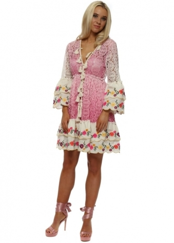 Fleur Pink Lace Layered Dress