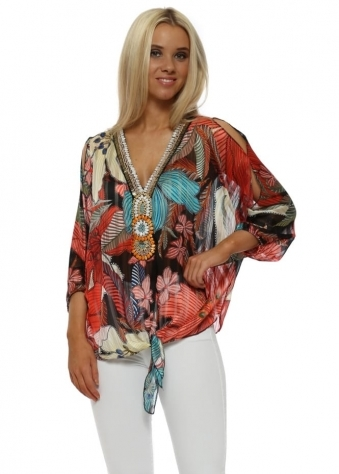 Bright Coral Tropical Flower Beaded Tie Top