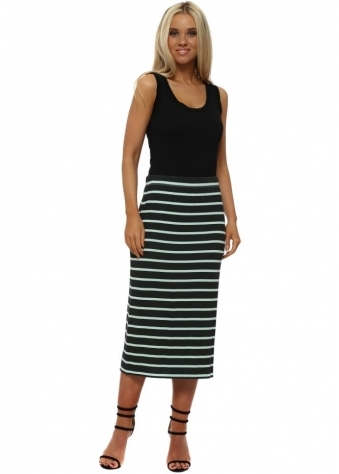 Buffy Sea Jade Brighton Stripe Midi Skirt