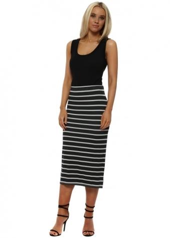 Buffy Grey White Brighton Stripe Midi Skirt