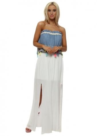 Denim Tassle Bandeau White Split Maxi Dress