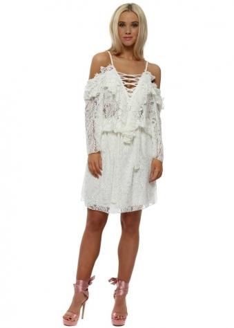 White Lace Lattice Cold Shoulder Dress