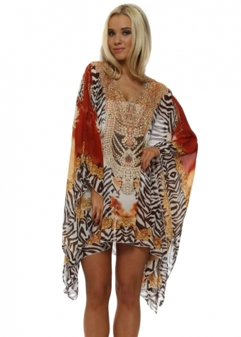 Zebra & Orange Flower Print Oversized Kaftan