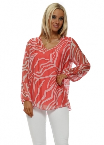 Coral Zebra Print Silk V-Neck Top