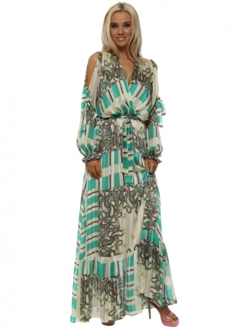 Green Paisley Print Cross Over Maxi Dress