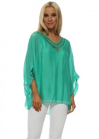 Green Silk Sequin Batwing Top