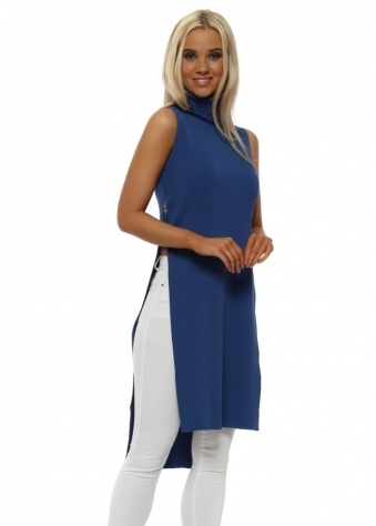 Cobalt Blue Polo Neck Ladder Side Longline Jumper