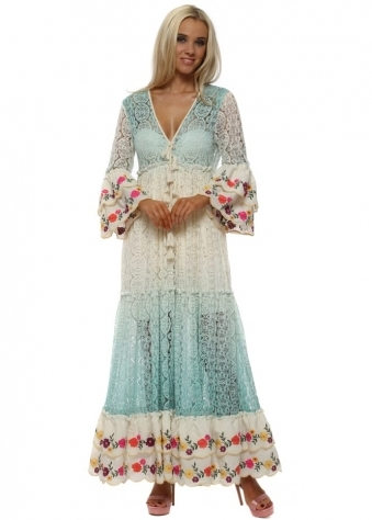 Fleur Aqua Lace Layered Maxi Dress