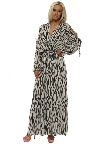 Zebra Print Cross Over Maxi Dress
