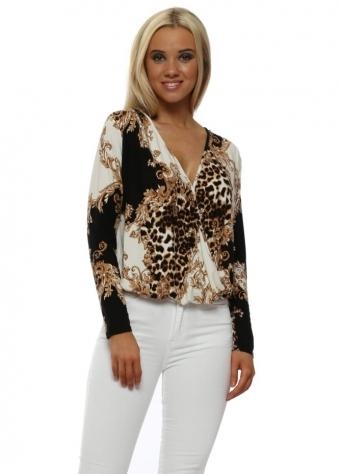 Black Leopard & Rococo Wrap Front Body