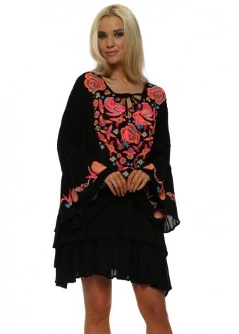 Rustik Black Floral Embroidered Beach Dress