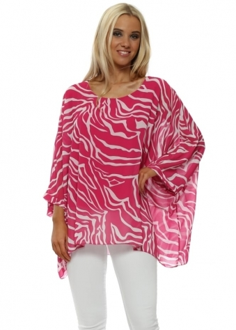 Hot Pink Zebra Print Batwing Top