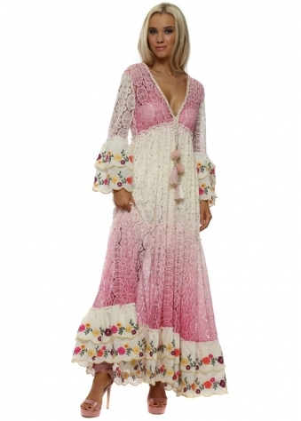 Fleur Pink Lace Layered Maxi Dress